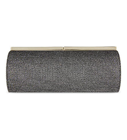 JIMMY CHOO Trinket metallic clutch (Anthracite