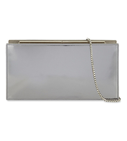 JIMMY CHOO Tux leather and suede clutch (Steel