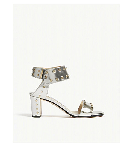 JIMMY CHOO Veto 65 mirror leather heeled sandals (Silver/gold