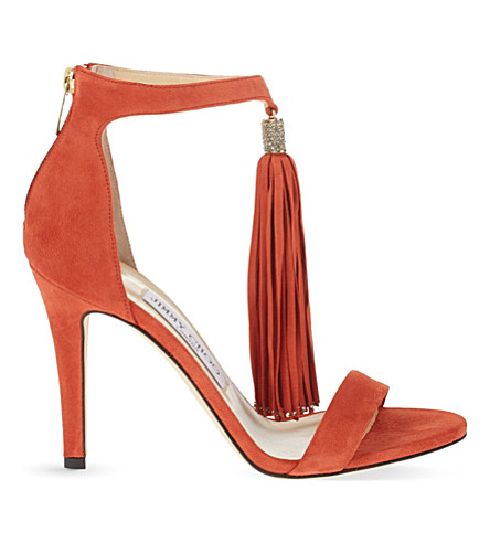 JIMMY CHOO Viola 100 suede heeled sandals (Agate