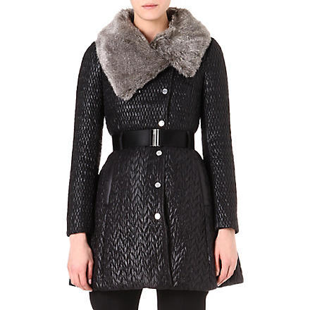 KAREN MILLEN Quilted faux-fur collar coat (Black
