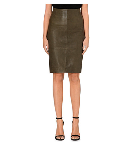 KAREN MILLEN Leather pencil skirt (Khaki/olive