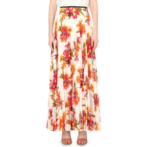 Orchid-print maxi skirt