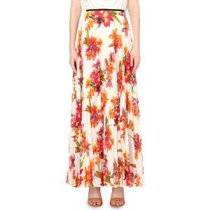 Orchid-print maxi skirt