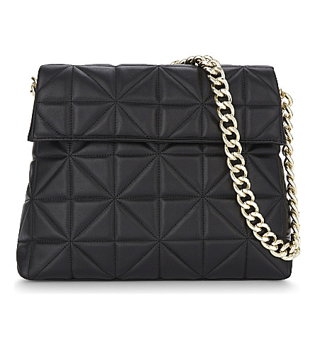 KAREN MILLEN Regent quilted leather shoulder bag (Black
