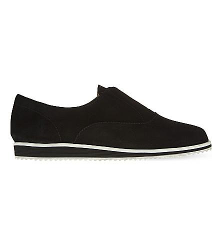 KAREN MILLEN Nubuck leather slip on trainers (Black