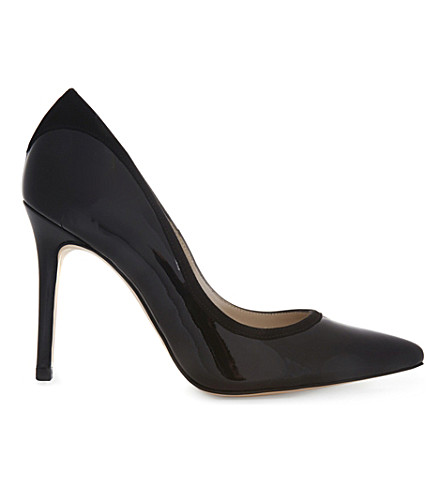 KAREN MILLEN Patent-leather & suede courts (Black