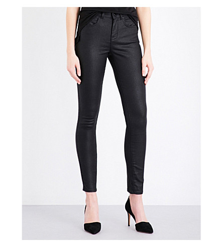KAREN MILLEN Textured skinny high-rise jeans (Black