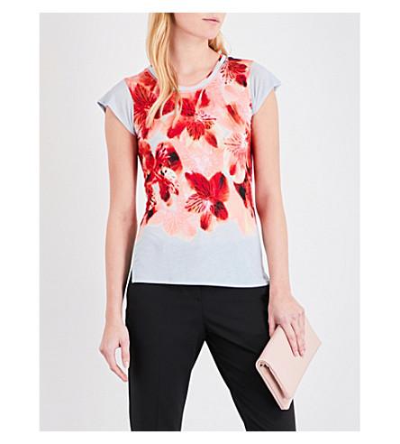 KAREN MILLEN Orchid-print jersey T-shirt (Grey