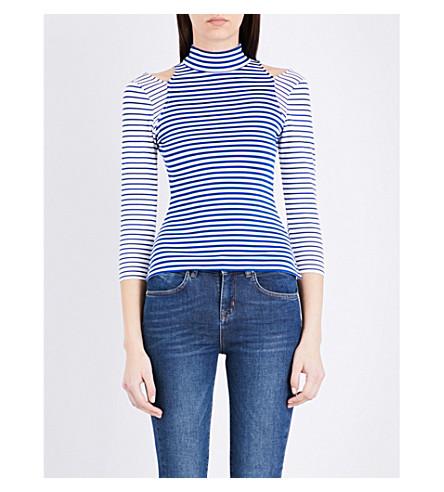 KAREN MILLEN Cutout-detail striped jersey top (Multi-coloured