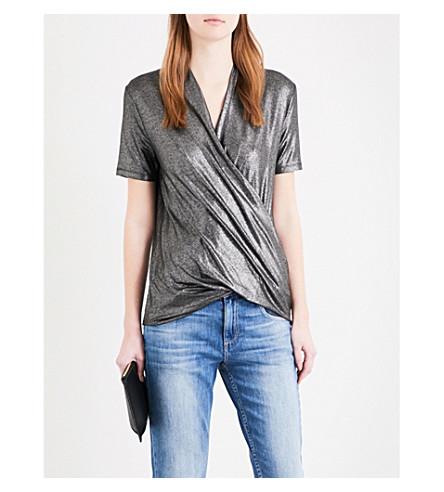 KAREN MILLEN Draped metallic wrap top (Grey