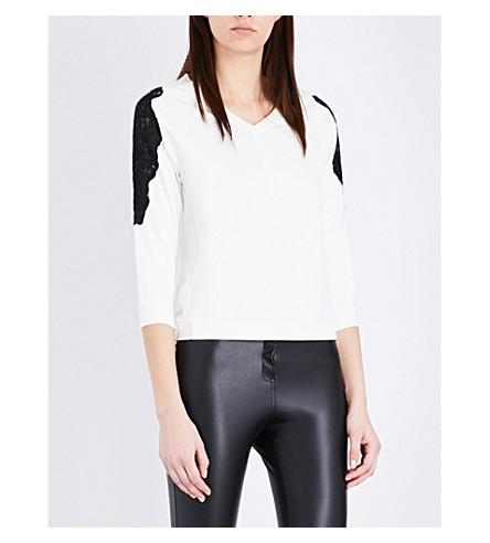 KAREN MILLEN Lace-insert jersey top (Cream