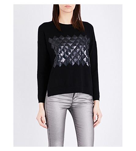 KAREN MILLEN Geometric-embroidered wool-blend jumper (Black