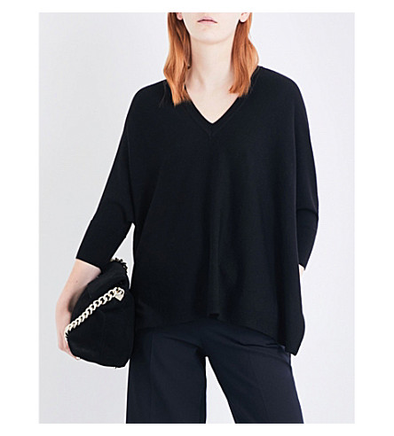 KAREN MILLEN V-neck knitted poncho (Black