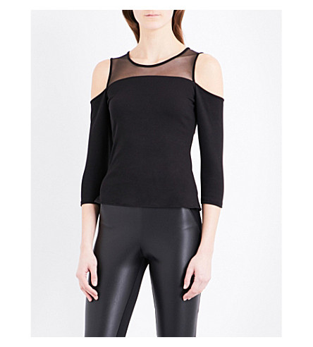 KAREN MILLEN Cold shoulder mesh and ponte-jersey top (Black