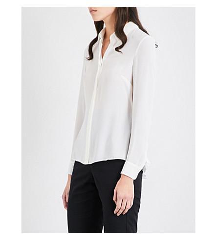 KAREN MILLEN Pleated back crepe shirt (White