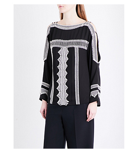 KAREN MILLEN Embroidered trim loose-fit crepe blouse (Multi-coloured