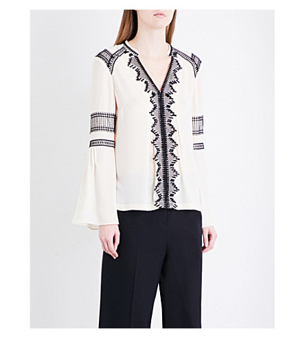 KAREN MILLEN Embroidered trim crepe blouse (Cream