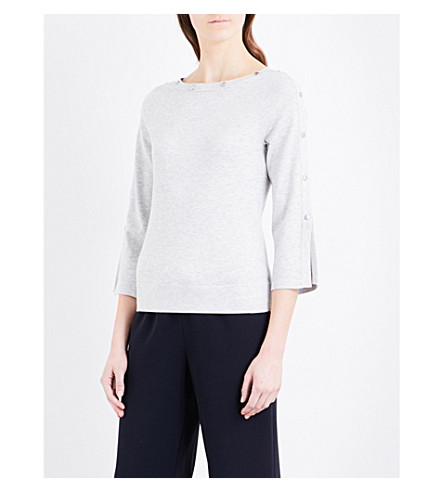 KAREN MILLEN Button-detail stretch-knit sweater (Grey