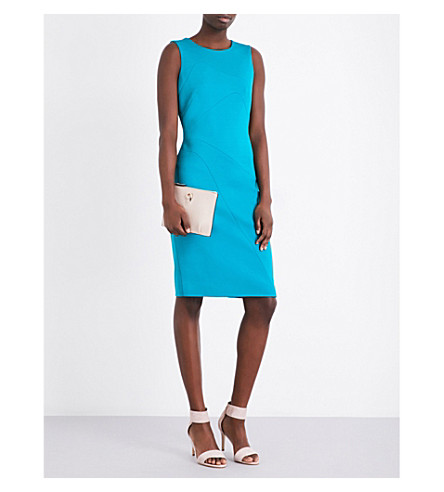 KAREN MILLEN Stitch detail sleeveless neoprene dress (Green