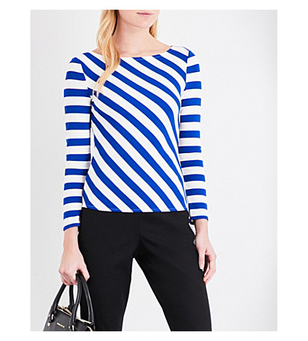 KAREN MILLEN Striped ponte-jersey top (Multi-coloured
