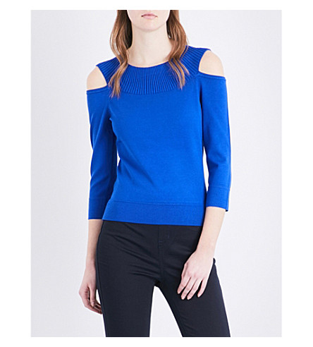 KAREN MILLEN Cold-shoulder knitted jumper (Blue