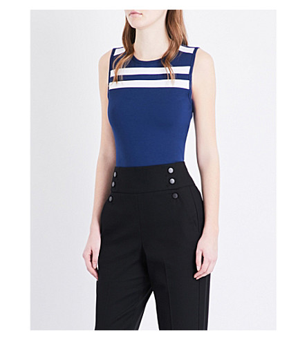 KAREN MILLEN Contrast stripe woven top (Multi-coloured
