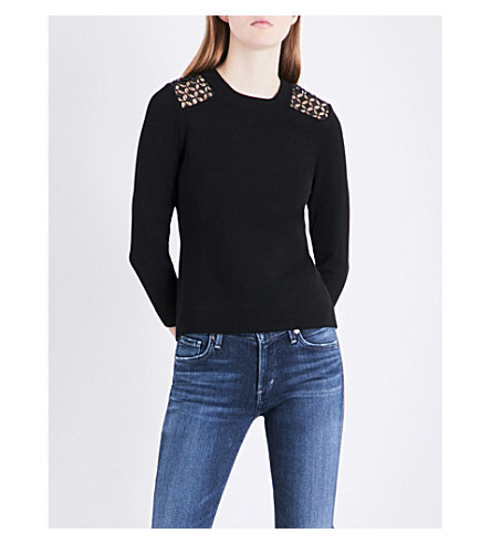 KAREN MILLEN Lace-detail knitted jumper (Black