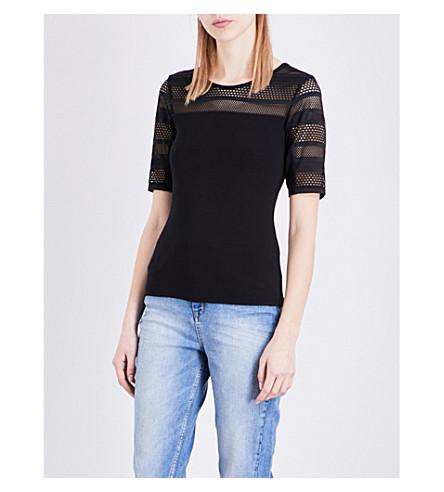 KAREN MILLEN Mesh-insert jersey top (Black