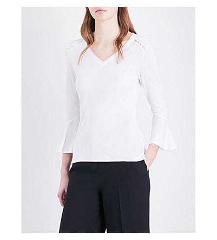 KAREN MILLEN Trumpet-sleeve jersey top (White