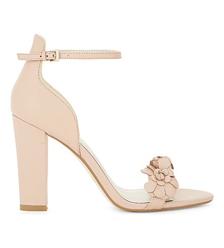KAREN MILLEN Atelier Botanical leather heeled sandals (Nude+(lingerie)