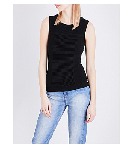 KAREN MILLEN Bubble-stitch woven top (Black