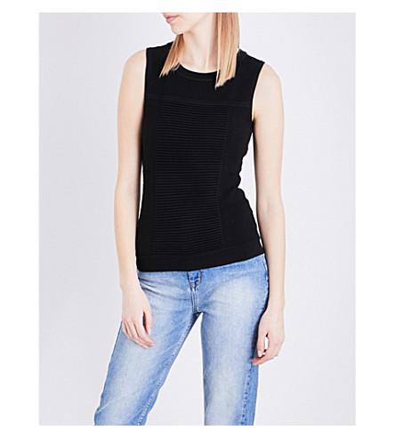 Buy Cheap Footlocker Finishline KAREN MILLEN Bubble-stitch woven top Black New Styles For Sale F8MuFhu0
