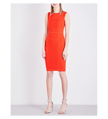 KAREN MILLEN Bubble-stitch woven dress (Bright+orange