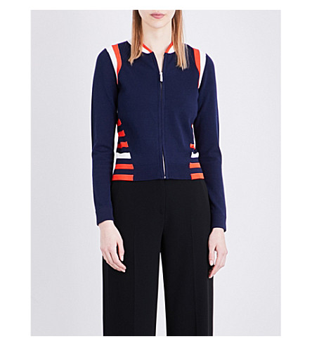 KAREN MILLEN Stripe-detail woven bomber jacket (Multi-coloured