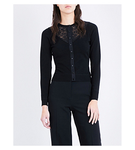 KAREN MILLEN Floral lace-insert stretch-knit cardigan (Black