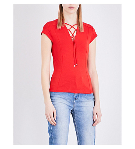 KAREN MILLEN Lace-up jersey top (Red