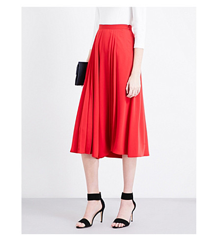 KAREN MILLEN Pleated high-rise wide-leg crepe culottes (Red