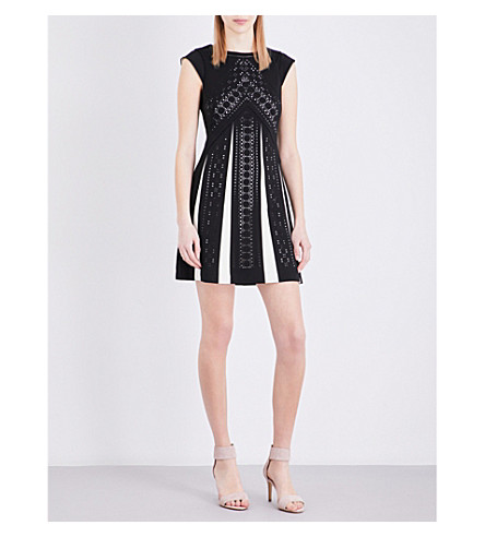 KAREN MILLEN Laser-cut woven dress (Monochrome