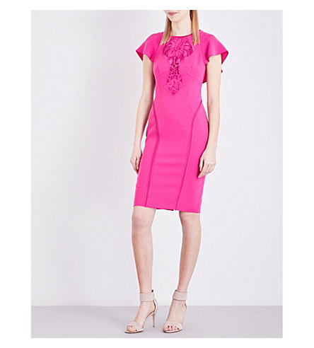 KAREN MILLEN Cutwork-detail fitted crepe dress (Bright+pink/fuschia