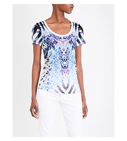 KAREN MILLEN Animal-print jersey T-shirt (Multi-coloured