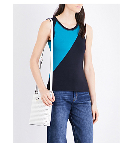 KAREN MILLEN Colourblock sleeveless jersey top (Multi-coloured