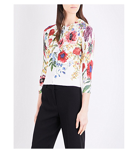 KAREN MILLEN Botanical bloom knitted cardigan (Grey