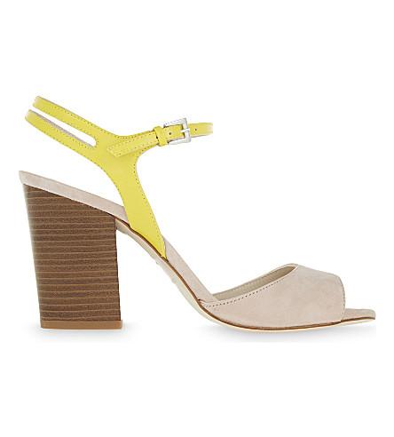 KAREN MILLEN Block heel patent leather and suede sandals (Nude+(lingerie)