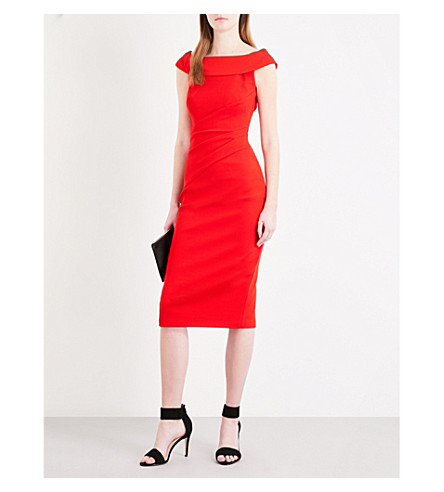 KAREN MILLEN Bardot woven dress (Red