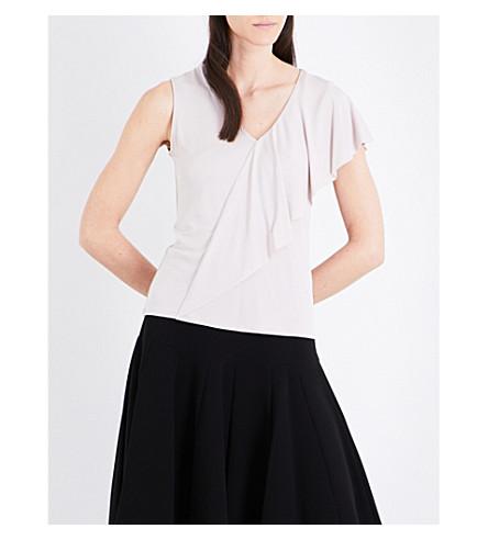 KAREN MILLEN Asymmetric frilled woven top (Cream