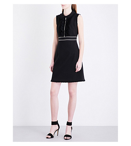 KAREN MILLEN Pleated trim fit-and-flare woven dress (Black