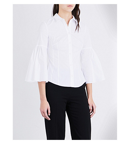 KAREN MILLEN Bell-sleeved cotton-blend shirt (White