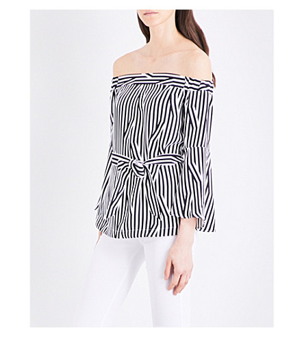 KAREN MILLEN Off-the-shoulder crepe top (Monochrome
