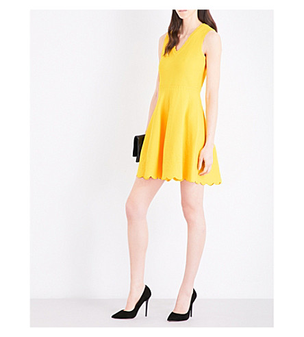 KAREN MILLEN Scallop-edged knitted dress (Yellow